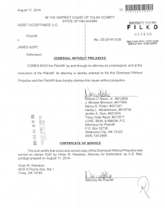 Dismissal papers filed in Tulsa County