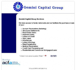 archived Gemini Capital Group website